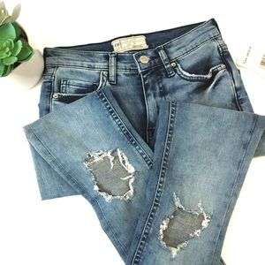 Free People High Rise Skinny Busted Knee Jeans